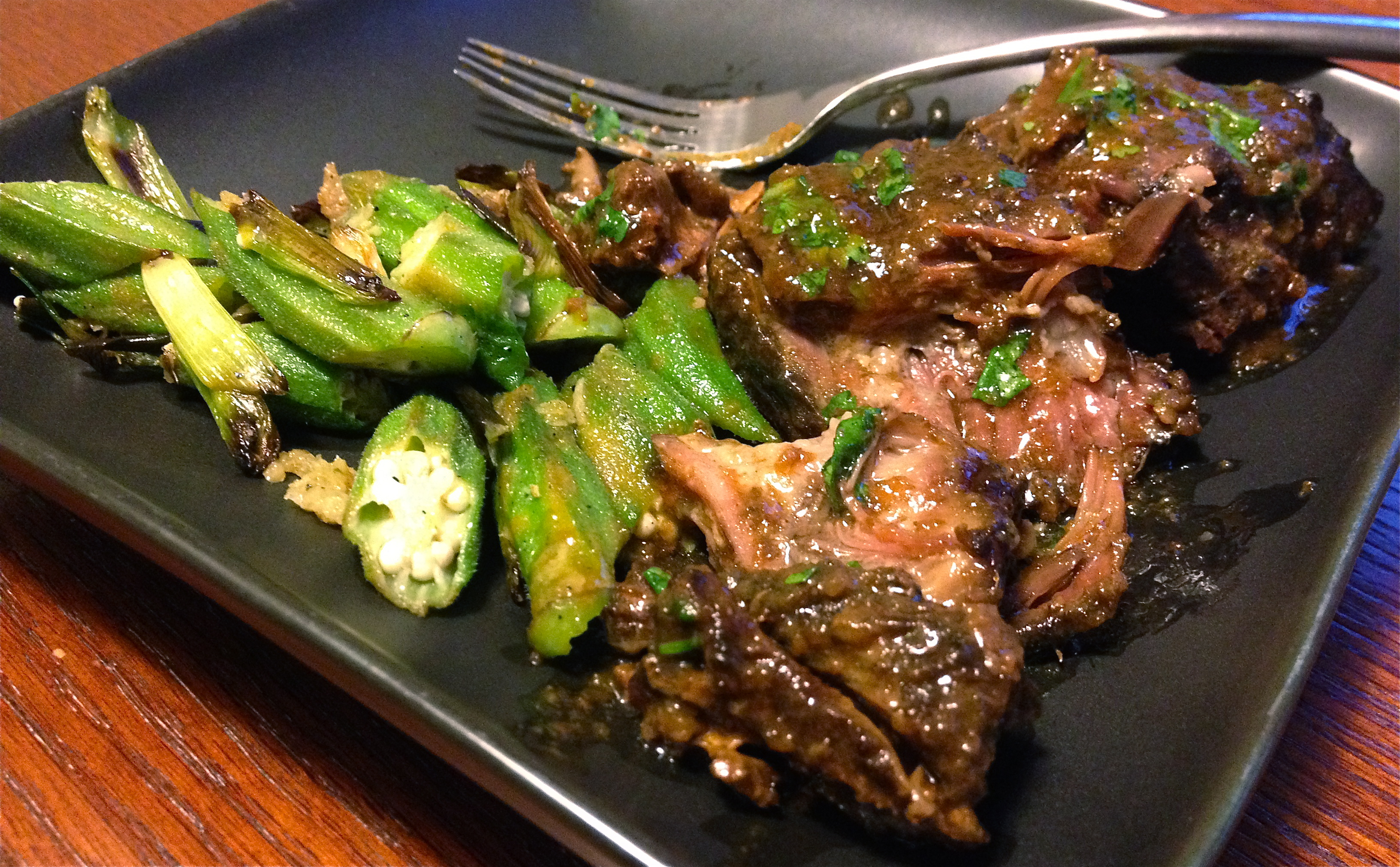 Korean Style Short Ribs with Asian-Style Okra