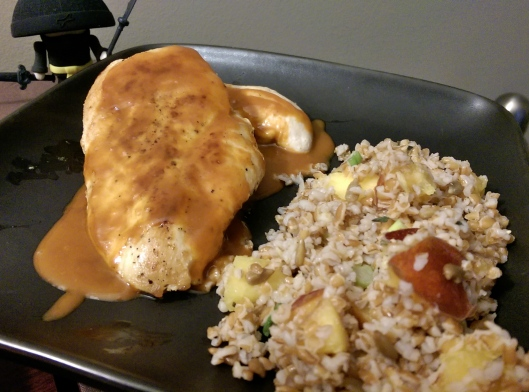 Red Curry Sauce over Chicken Breasts, with Peachy Bulgar