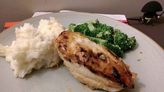 Honey Mustard Chicken with Mashed Potatoes and Broccoli