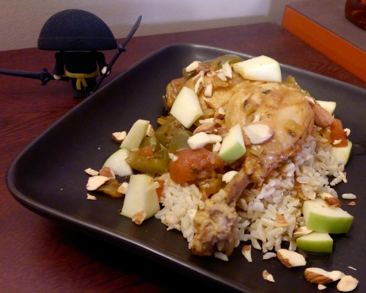 Country Captain Chicken over Brown Rice