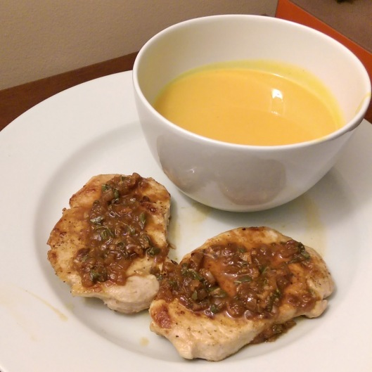 Butternut Squash soup with Pork Chops